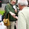 Jon, onehumanbeing handing out free buttons...
